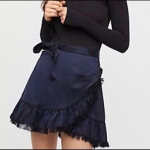Free People Faux Wrap Fray Mini Skirt FP ONE 2